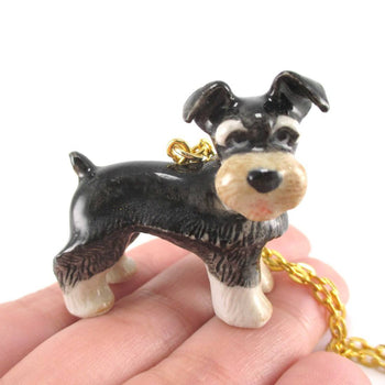 Schnauzer Puppy Dog Porcelain Hand Painted Ceramic Animal Pendant Necklace | Handmade | DOTOLY