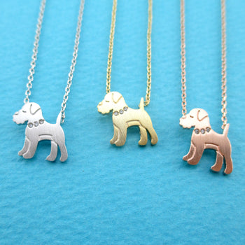 Schnauzer Puppy Shaped Charm Necklace for Dog Lovers | Animal Jewelry