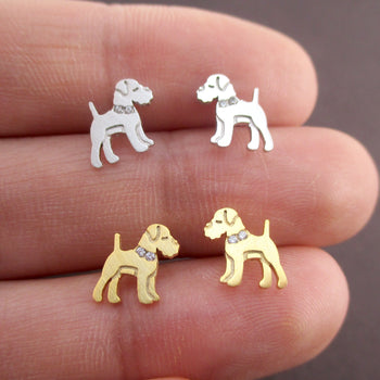 Schnauzer Shaped Stud Earrings with Rhinestones in Gold or Silver