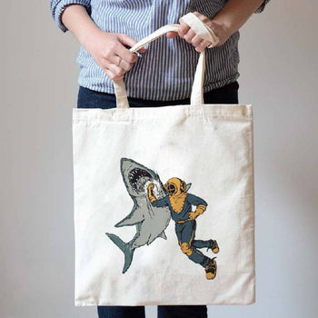 Scuba Diver Shark Punch Print Natural Canvas Tote Shopper Bag | Gifts for Animal Lovers | DOTOLY