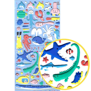 Sea Creatures Animal Themed Dolphin Whale Squid Shark Puffy Stickers for Scrapbooking | DOTOLY