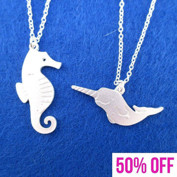 Sea Creatures Themed Seahorse and Narwhal 2 Piece Necklaces in Silver