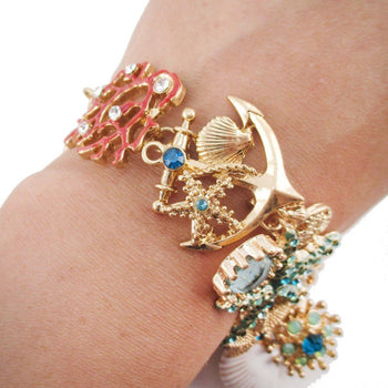 Sea Inspired Coral Starfish Seashells Anchor Charm Bracelet | DOTOLY