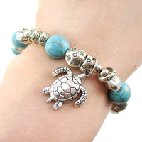 Sea Turtle Charm Turquoise Bead Stretchy Boho Chic Bracelet | DOTOLY | DOTOLY