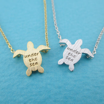 Sea Turtle Shaped Under The Sea Quote Pendant Necklace | DOTOLY