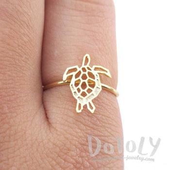 Sea Turtle Tortoise Shaped Adjustable Ring in Gold | Animal Jewelry
