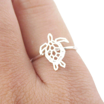 Sea Turtle Tortoise Shaped Adjustable Ring in Silver | Animal Jewelry