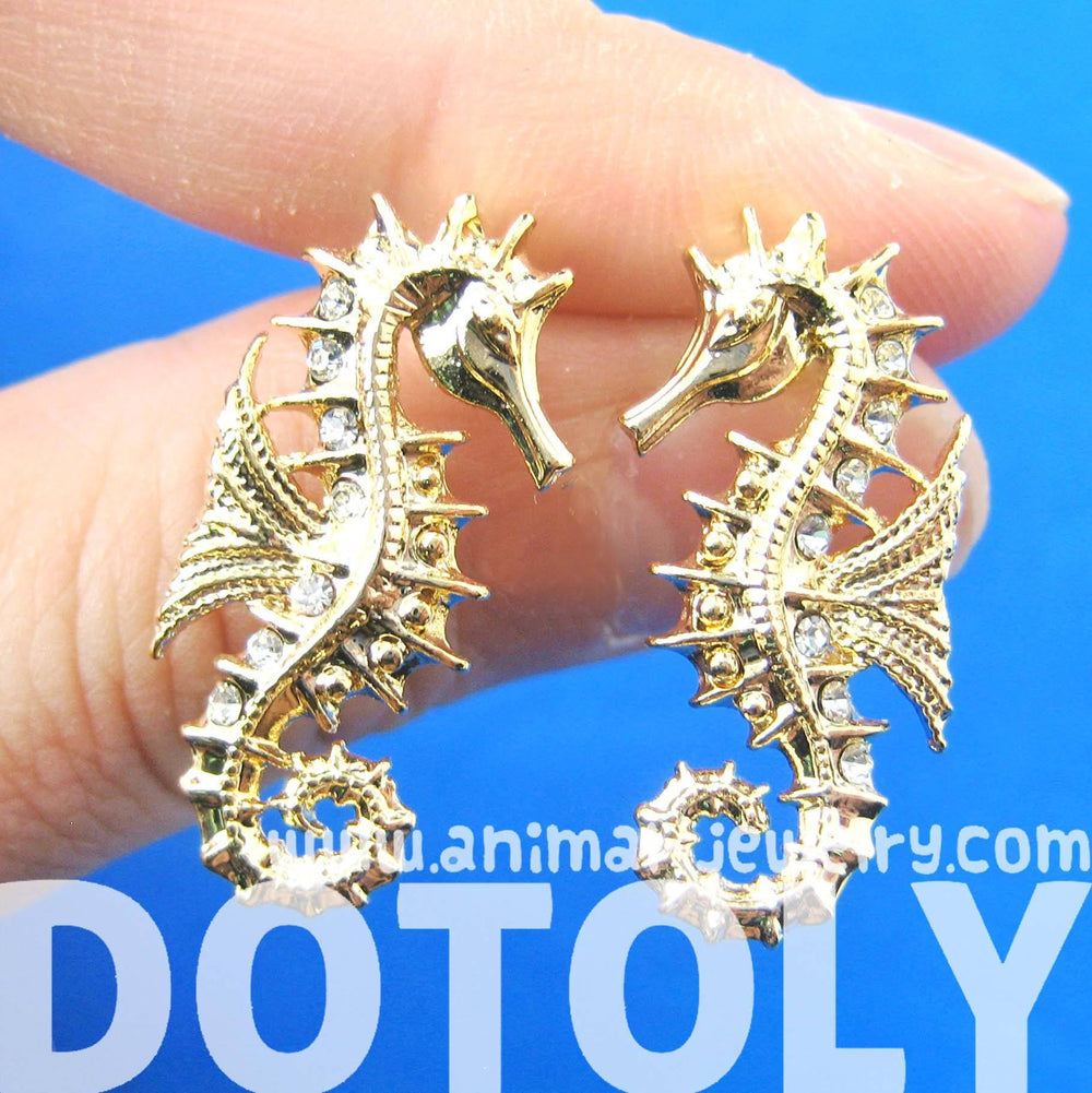Seahorse Sea Animal Shaped Stud Earrings in Gold | Animal Jewelry | DOTOLY
