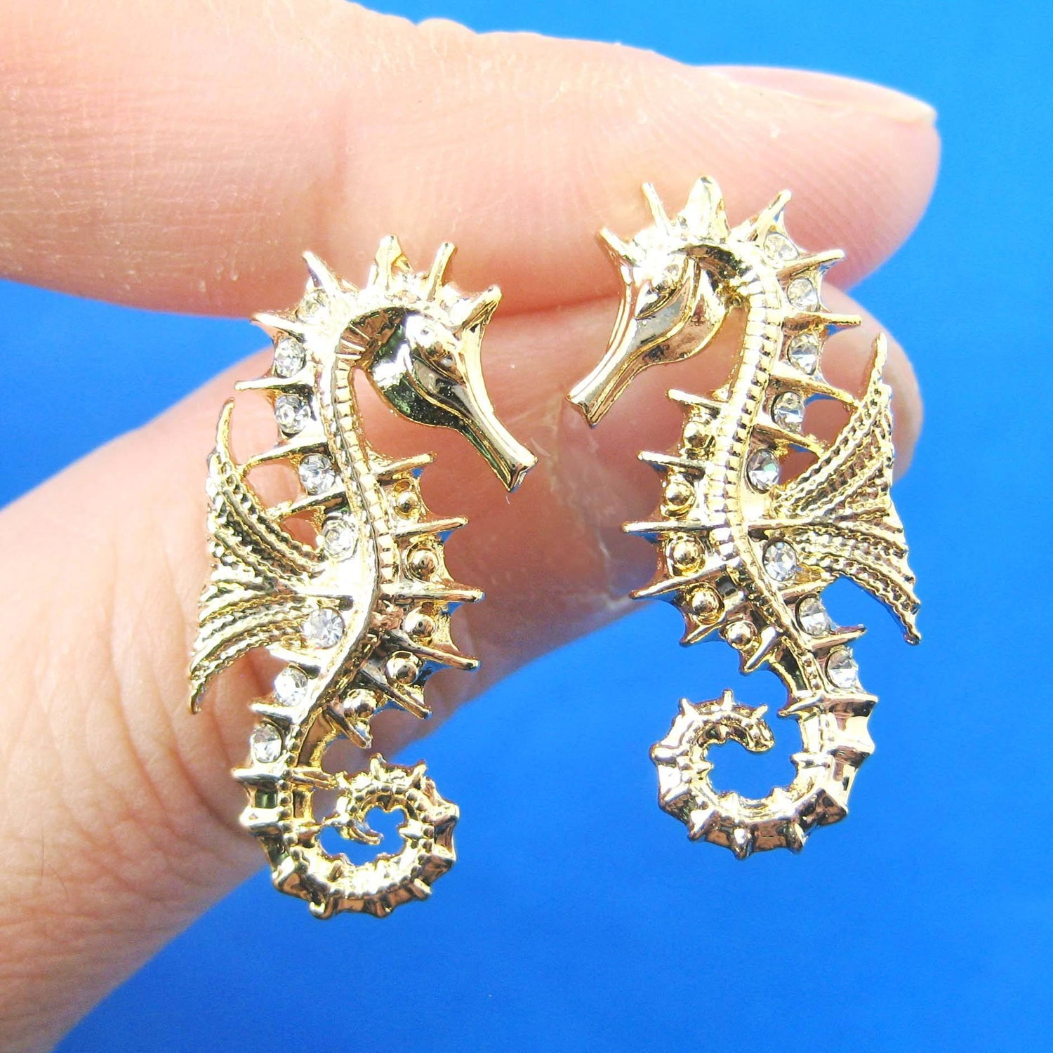 0d89f4a84 Seahorse Sea Animal Shaped Stud Earrings in Gold   Animal Jewelry