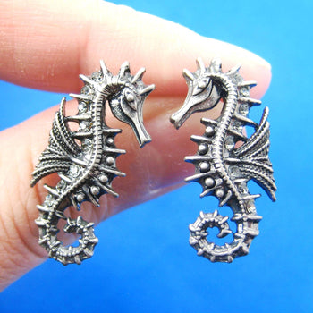 Seahorse Sea Animal Shaped Stud Earrings in Silver | Animal Jewelry | DOTOLY