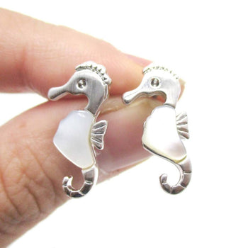 Seahorse Shaped Animal Themed Stud Earrings in Silver with Pearl Detail | DOTOLY | DOTOLY