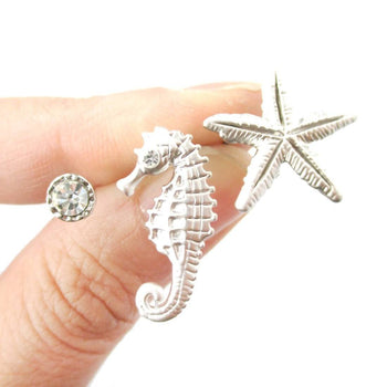 Seahorse Starfish and Rhinestone Shaped Allergy Free Stud Earrings in Silver | Animal Jewelry | DOTOLY