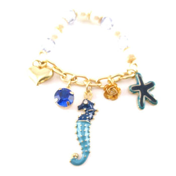 Seahorse Starfish Hearts Gemstones Jewels of the Sea Charm Bracelet | DOTOLY | DOTOLY