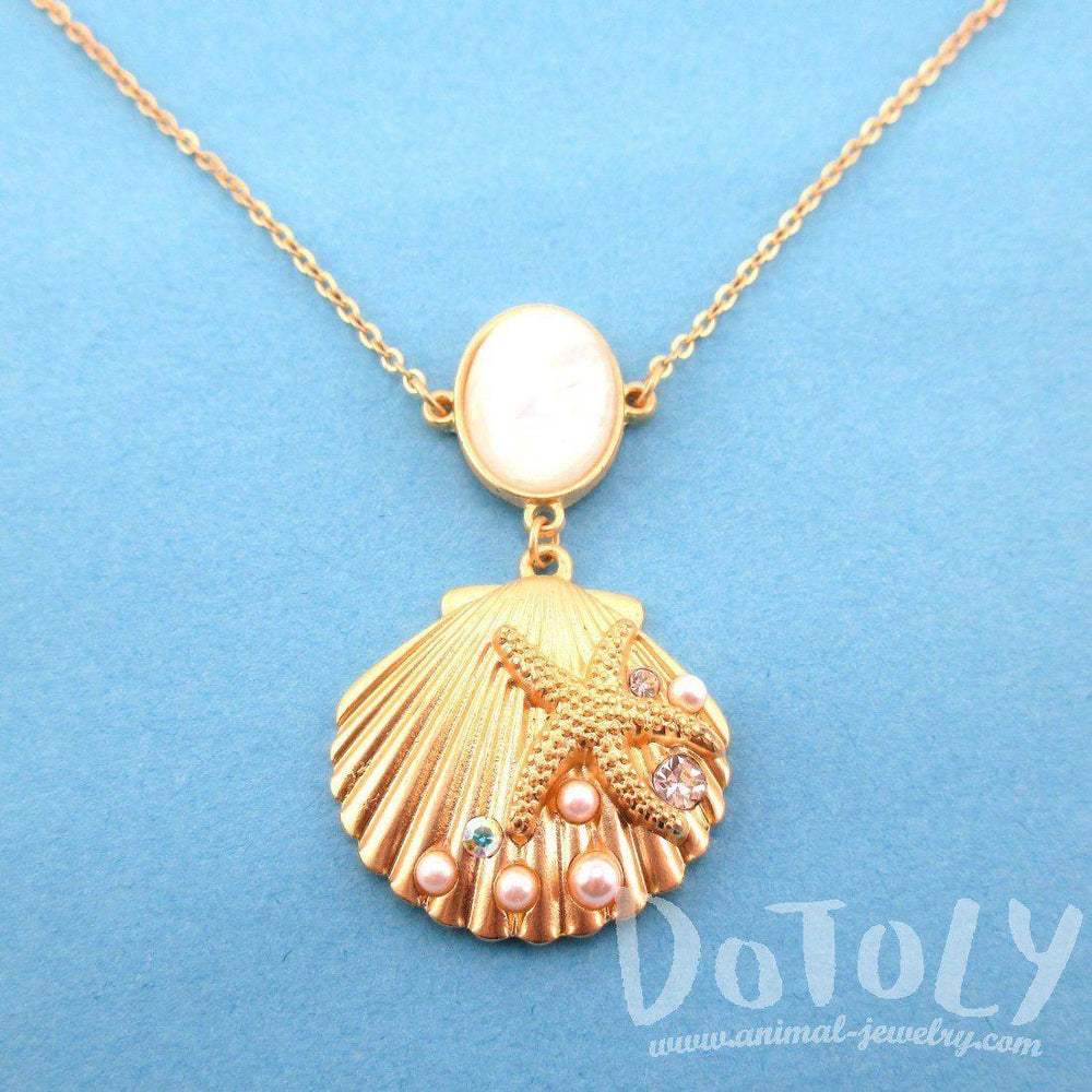 Lovely Seashell Starfish Sea Inspired Mermaid Necklace in Gold – DOTOLY AS73