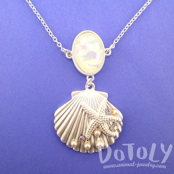Seashell Starfish Ocean Inspired Mermaid Jewelry Pendant Necklace in Silver | DOTOLY