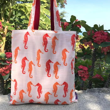 Colorful Seahorse Pattern Cotton Canvas Reversible Tote Bags for Women
