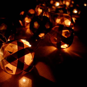 Shades of Brown Round Bamboo Ball Handmade String Lights | DOTOLY | DOTOLY