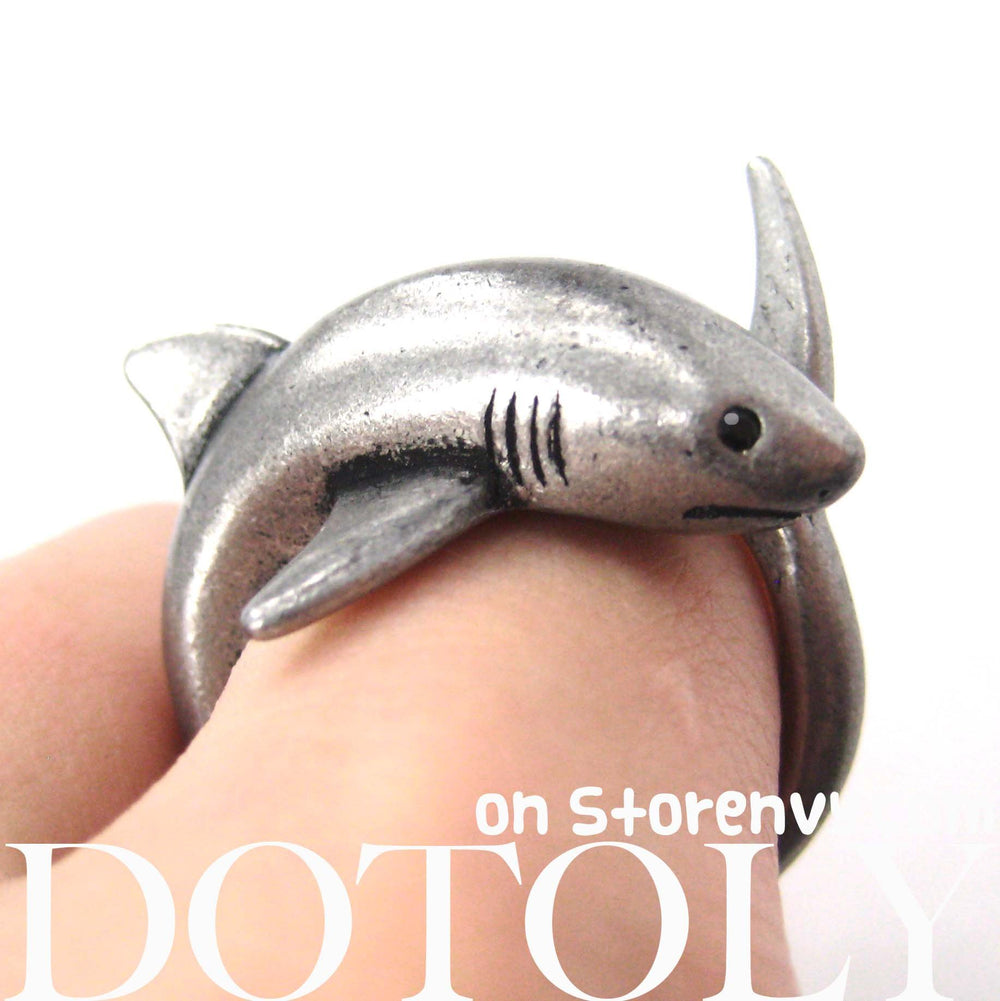 Shark Sea Animal Wrap Around Realistic Ring in Silver - Size 5 to 10 | DOTOLY