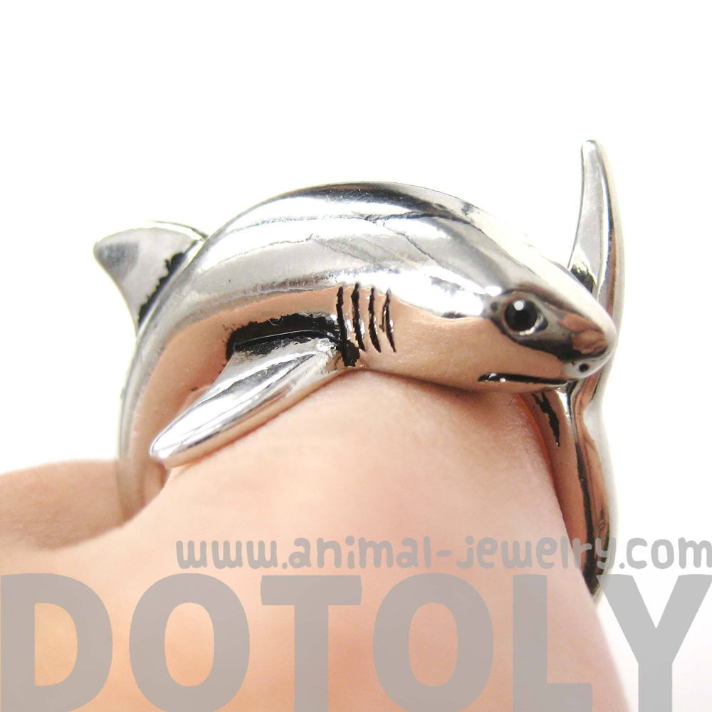 Shark Sea Animal Wrap Around Realistic Ring in Shiny Silver - Size 5 to 10 | DOTOLY