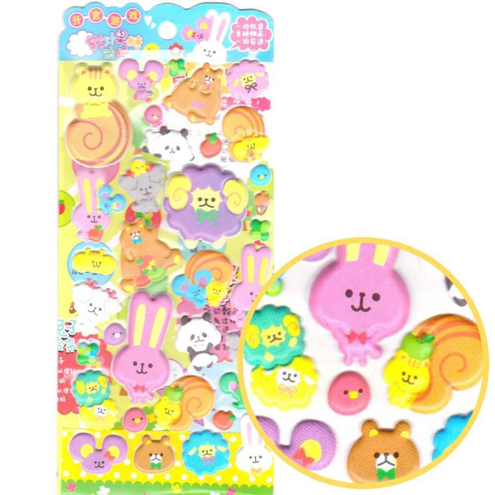 Sheep Bear Bunny and Squirrels Animal Shaped Puffy Stickers for Scrapbooking | DOTOLY