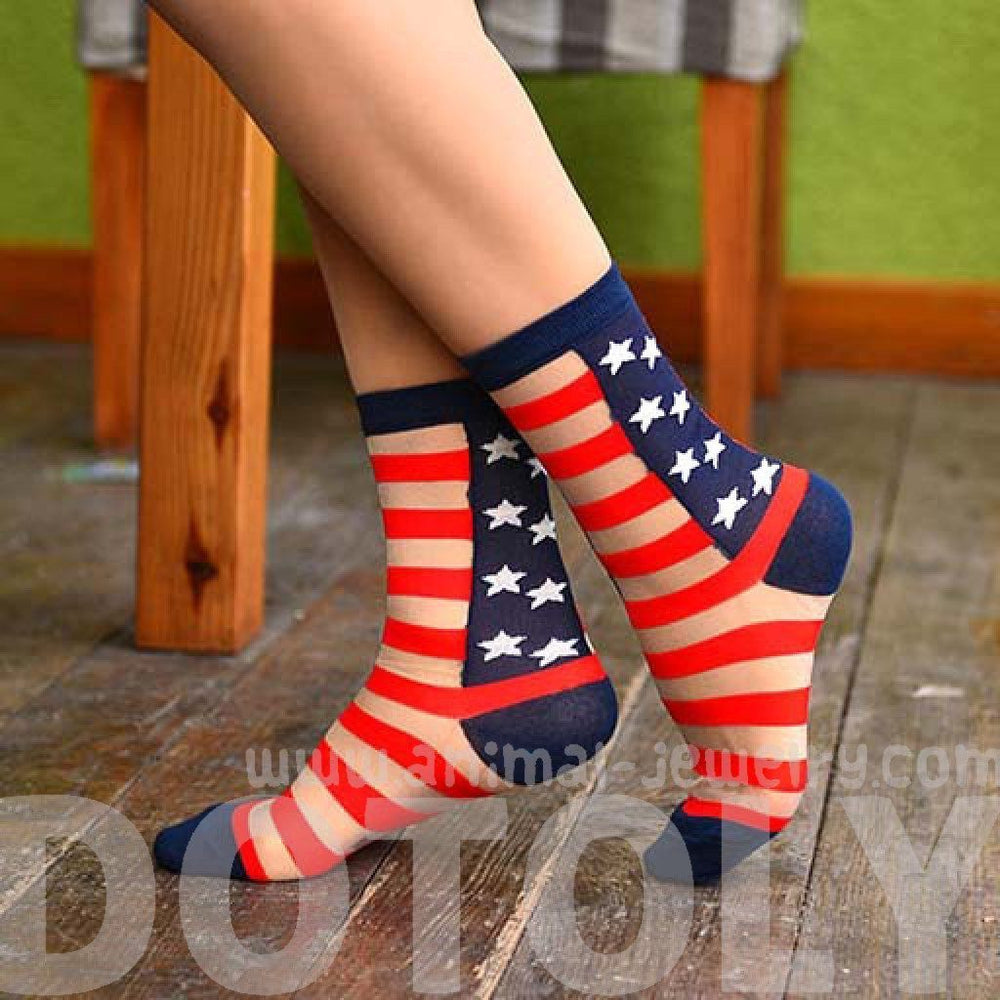 Sheer Patriotism American Flag Star and Stripes Print Socks for Women | DOTOLY | DOTOLY
