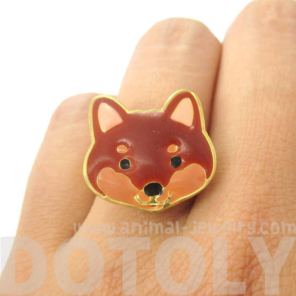 Shiba Inu Puppy Face Shaped Adjustable Animal Ring in Brown | Limited Edition Jewelry | DOTOLY