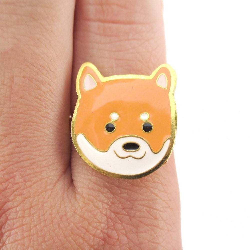 Shiba Inu Puppy Face Shaped Adjustable Animal Ring | Limited Edition | DOTOLY