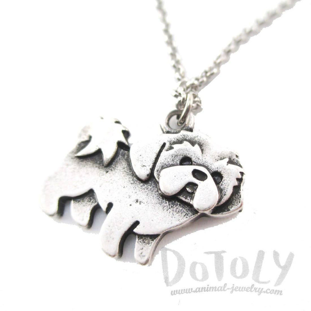 Shih Tzu Puppy Dog Shaped Charm Necklace in Silver | Animal Jewelry