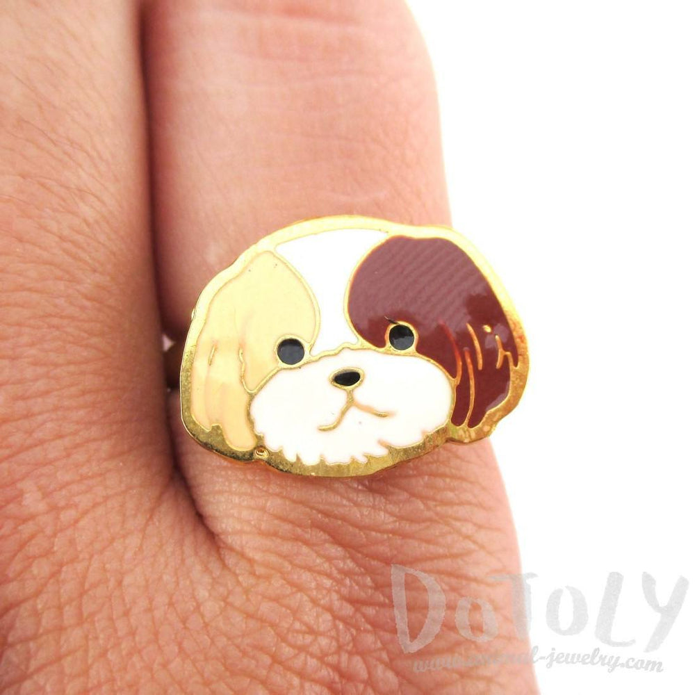 Shih Tzu Puppy Face Shaped Adjustable Animal Ring in Tan | Limited Edition | DOTOLY