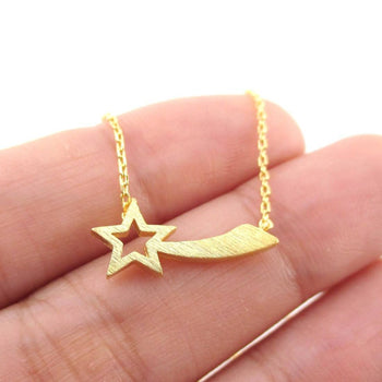 Shooting Star Shaped Make a Wish Pendant Necklace in Gold | DOTOLY | DOTOLY