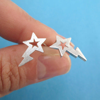 Shooting Stars Space Themed Stud Earrings in Silver | DOTOLY