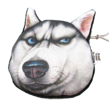 Siberian Husky Dog Face Animal Meme Coin Purse Make Up Bag | DOTOLY