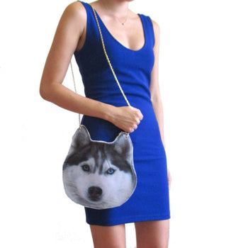 Siberian Husky Dog Face Shaped Animal Themed Vinyl Cross Shoulder Bag | DOTOLY