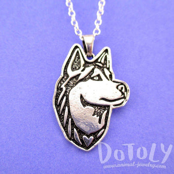 Siberian Husky Dog Portrait Pendant Necklace in Silver | Animal Jewelry | DOTOLY