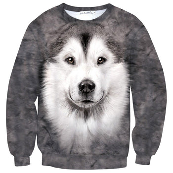 Siberian Husky Puppy Face All Over Print Unisex Pullover Sweater | Gifts for Dog Lovers | DOTOLY