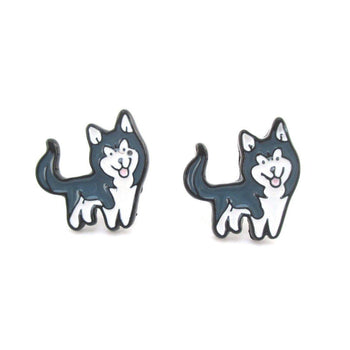 Siberian Husky Puppy Shaped Enamel Stud Earrings for Dog Lovers