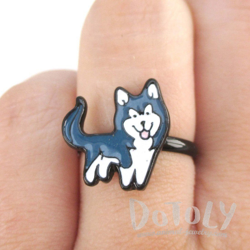 Siberian Husky Shaped Enamel Adjustable Ring for Dog Lovers | DOTOLY