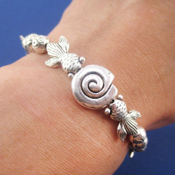 Silver Goldfish Seashell Shaped Charm Stretchy Bracelet