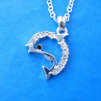 Simple Dolphin Shaped Sea Animal Pendant Necklace in Silver with Rhinestones | DOTOLY
