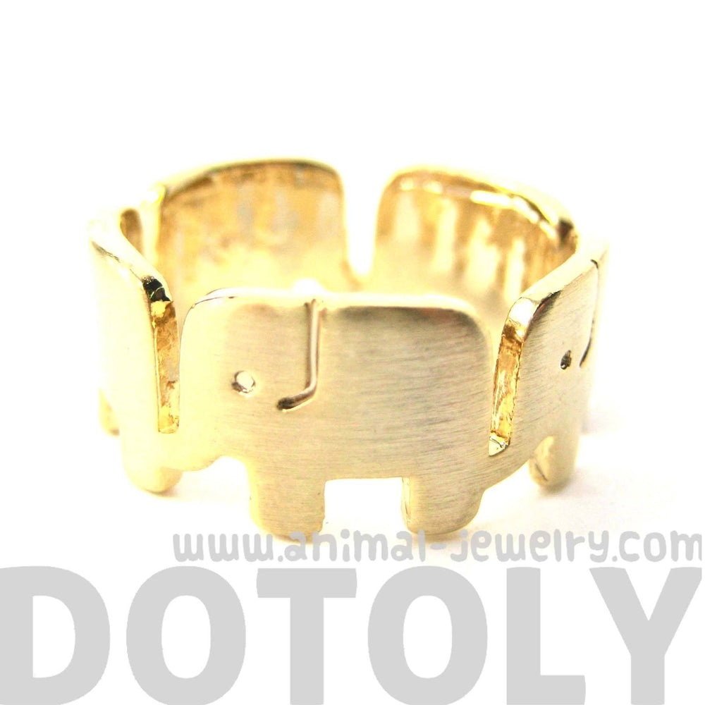 Simple Elephant Family Parade Animal Ring in Gold - US Size 6 to 8 Available | DOTOLY