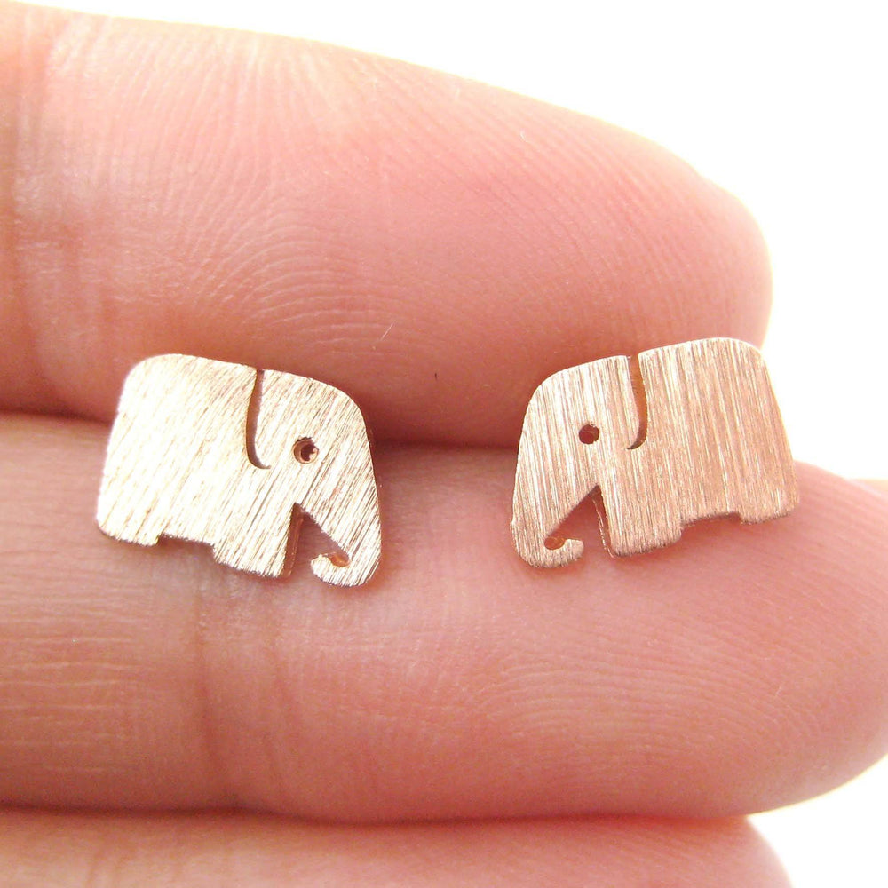 Simple Elephant Shaped Silhouette Stud Earrings in Rose Gold | Allergy Free | DOTOLY