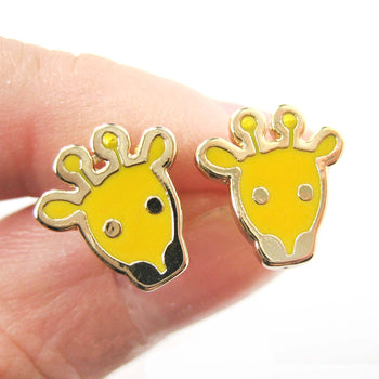 Simple Giraffe Shaped Animal Stud Earrings in Yellow | DOTOLY | DOTOLY