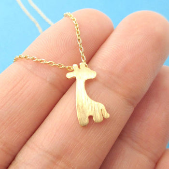 Simple Giraffe Silhouette Shaped Pendant Necklace in Gold | Animal Jewelry | DOTOLY