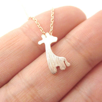 Simple Giraffe Silhouette Shaped Pendant Necklace in Rose Gold | Animal Jewelry | DOTOLY