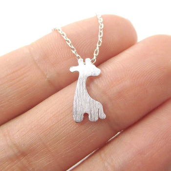 Simple Giraffe Silhouette Shaped Pendant Necklace in Silver | Animal Jewelry | DOTOLY
