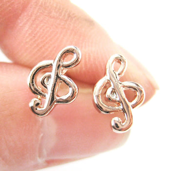 Simple Musical Note Treble Clef Shaped Stud Earrings in Rose Gold | DOTOLY