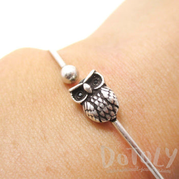 Simple Owl Bird Charm Bangle Bracelet Cuff in Silver | Animal Jewelry | DOTOLY