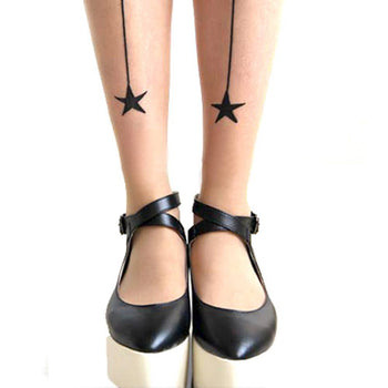 Simple Star and Back Seamed Sheer Nude Pantyhose Tattoo Tights for Women | DOTOLY | DOTOLY
