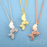 Little Mermaid Ariel Sitting Silhouette Shaped Pendant Necklace