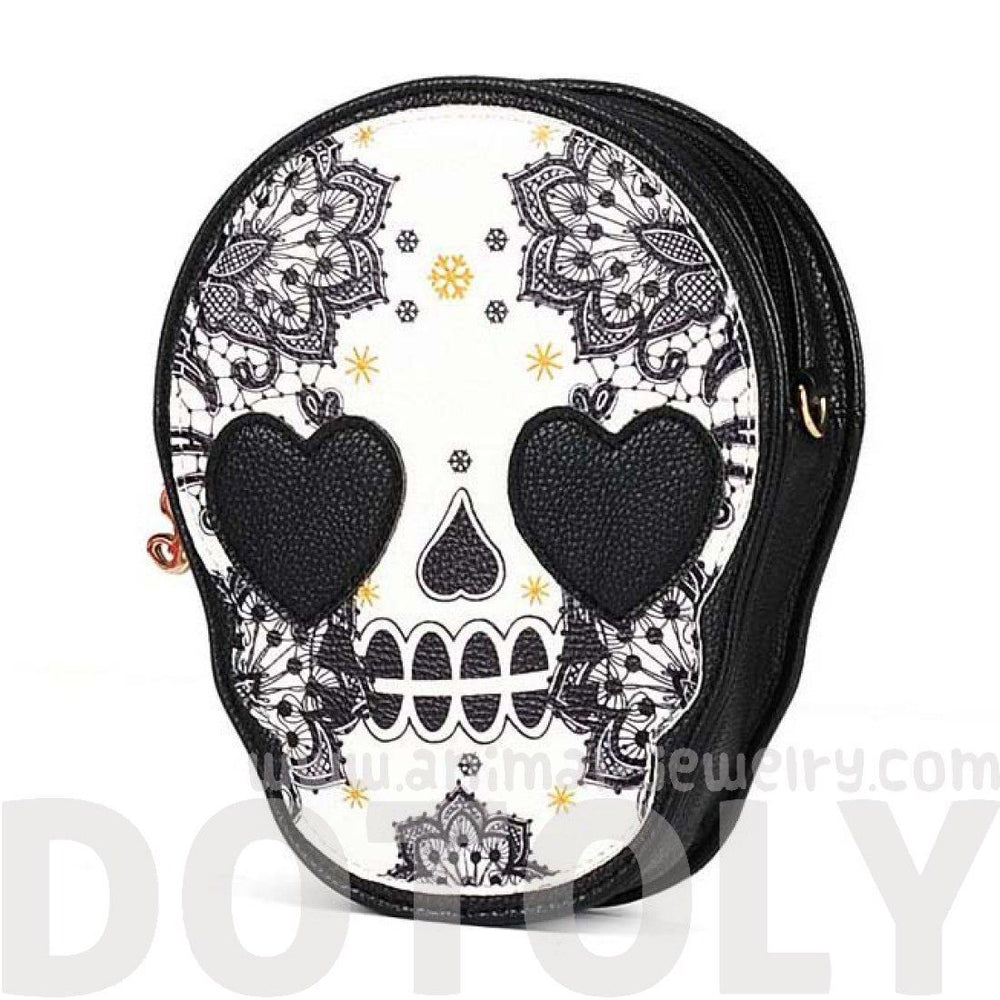 Skeleton Skull with Heart Shaped Eyes Shaped Cross Body Shoulder Bag | DOTOLY